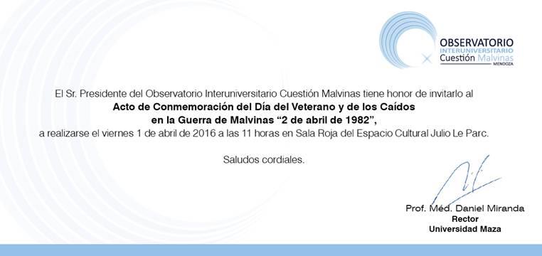 invitación Malvinas