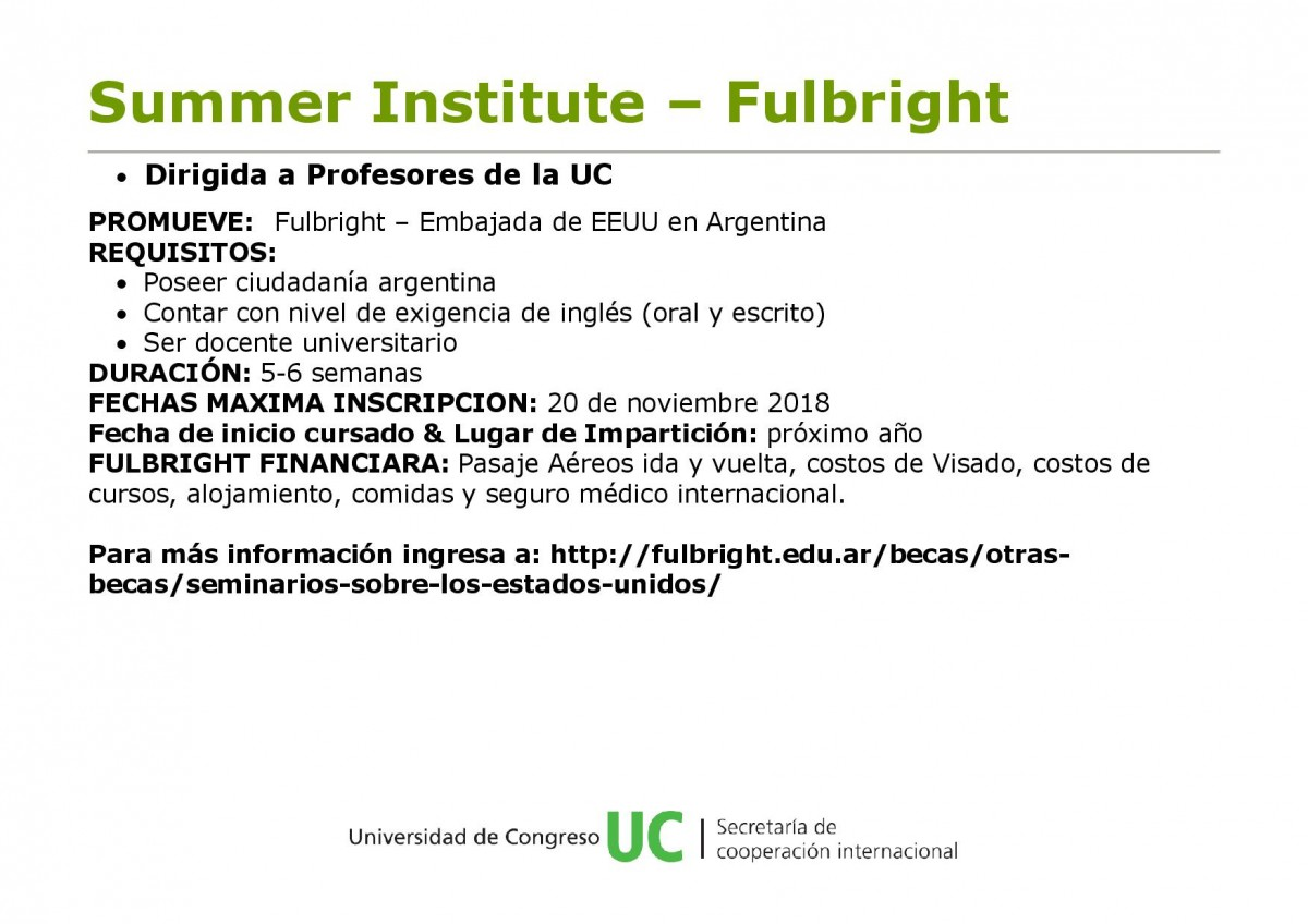 Beca Fulbright Summer Institute