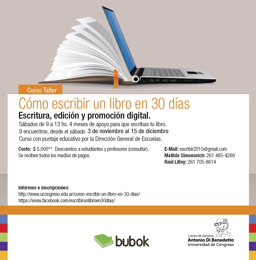 Curso Taller Como Escribir Un Libro En 30 Dias Universidad De